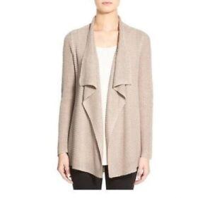 Eileen Fisher Organic Linen Rib, Drape Front Cardigan, Natural, LARGE NWT