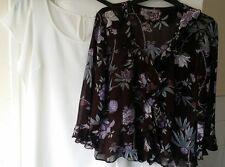 Ladies Berkertex Multi-Color Floral 100%Viscose & Promod Cream Women Top Size 14