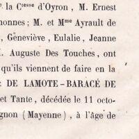 Gabrielle De Lamote-Barace De Senonnes Claviere Bignon 1857