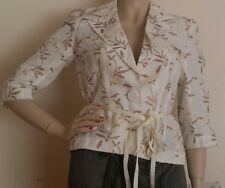 Gorgeous Jesire Cream & Brown Embroidered Leaves Linen Blend Shirt - Size 10