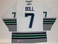JARED BOLL PLYMOUTH WHALERS REEBOK WHITE OHL JERSEY BLUE JACKETS