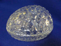 NEW WITH STICKER  24% LEAD CRYSTAL EGG-SHAPED CANDY/NUT DISH-JEWELRY-MADE IN USA