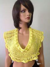 Hand Knit Cotton Scarf Mini Caplet Shawl Collar Sunshine Yellow Designer Fashion