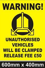 LARGE WHEEL CLAMPING SIGN -  No Parking - Security