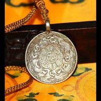 "Wonderful Vintage Old Tibet Tibetan Buddhism""Tibet Silver"" Melong Amulet Sidpaho"