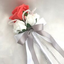 FLOWERGIRLS WAND, CORAL & WHITE ROSES,  CRYSTALS, ARTIFICIAL WEDDING FLOWERS