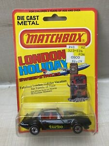 """Matchbox No 35 Pontiac """"T"""" Roof 1981 BLK London Holiday On Card Made In England"""