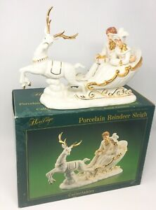 Heritage White Porcelain Reindeer Sleigh Gold Accents Handpainted Christmas *NEW