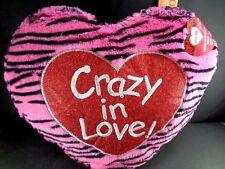 "Valentine Pillow Crazy In Love Heart Pink Black Plush Stuffed Plush Love 12"" NEW"