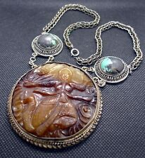 Carved Brown Jade Pendant with Female Form, Turquoise Bead Necklace, Handmade
