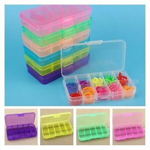 10 Holes Jewelry Storage Case Craft Organizer Beads Nail Plastic Box 6 Colors