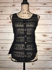 Zenana Outfitters Medium Tank Top Lace Front Solid Back Black