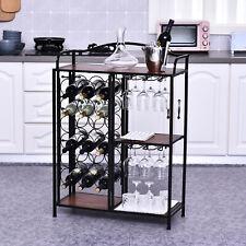 18 Bottle Wine Rack Stand Storage Unit Industrial Style Multi-Storage w/ Shelf