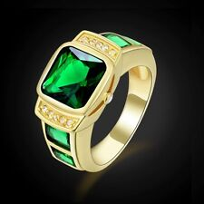 Ringss Emerald Engagement Size 11 Gift Luxury Fashion Jewelry Gold Filled Mens