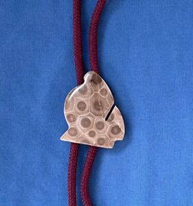 Unique Vintage Polished Coral Fossil Petoskey Stone Bolo Tie or Necklace Jewelry