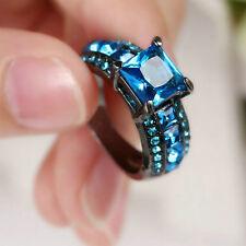 Lady/Women's Silver 10KT Black Gold Filled Aquamarine Wedding Ring Gift size 8