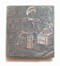 ANTIQUE KITCHEN WOMAN FILLING COFFEE CAN TEA CANISTER GRINDER COCOA & SPICE CAN