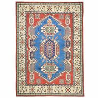 Tribal Hand-Knotted Kazak Caucasian Design Handmade Wool Rug 5.7X7.11 Brrsf-723
