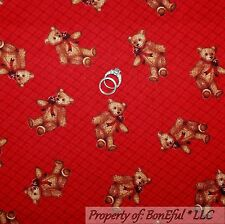 BonEful Fabric Cotton Quilt Red Brown Teddy Bear Stripe Baby Boy Calico US SCRAP