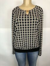 Anne Klein Patterned Stretch Long Sleeve Blouse Womens Size XL L Casual Knit Top