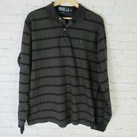 Polo Ralph Lauren Medium Polo Shirt Mens Gray Black Stripe Green Pony Rugby