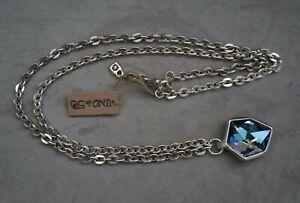"Nwt Uno De 50 Sahara Blue Elements Crystal Long Silver Chain ""Iceberg"" Necklace"