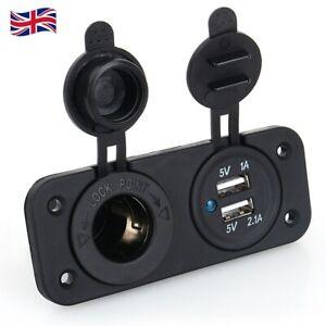 12V Dual USB Car Charger Cigarette Lighter Socket Splitter Power Adapter Outlet