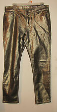NY & C Skinny Size 8 Sits at Lower Waist Womens Pants Gold