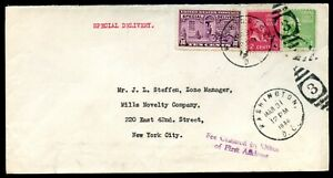 U.S. Scott 806 & 804 Prexies/Prexys w/E15 on 1st Class Special Delivery Cover