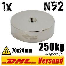 Neodym Magnet 70x20mm mit Loch 250kg Zugkraft - Industriemagnet Hightechmagnet