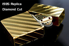 Zippo 1935 Replica 5-sides Diamond Cut Gold Plating Gold Tank Japan Limited F/S