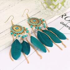 Women Beads Feather Bohemian Earrings Chain Leaf Dangle Eardrop Jewelry L