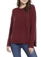 J Crew Women's Burgundy Oversized crewneck sweater in supersoft yarn SZ L