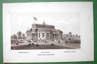 INDIANA Budiling at PHILADELPHIA EXPOSITION of 1876 - Antique Litho Print