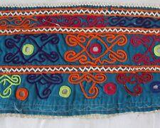 Blauer Kuchi Nomaden Stoff, Bestickter Stoff, Borte, Ethnostoff, 50 x 14 cm