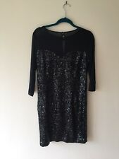 Hobbs Black Sequence Dress, Size 12, Sweetheart Net Front, New