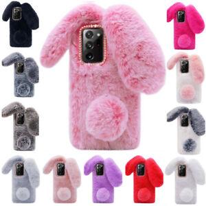For Samsung A10 A20 A30 A51 A71 A21 Bunny Fur Plush Fuzzy Fluffy Soft Phone Case