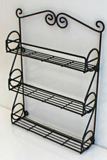 Metal Wall Mountable Black Scroll Kitchen Spice Rack, New WLR01