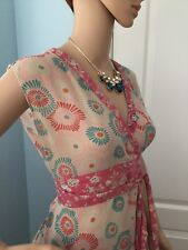 Pretty Anthropologie Floral Sheer Silk Obi Style Odille Womens Top Japanese S M