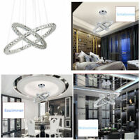 Ridgeyard Lampadario di cristallo lampada da soffitto con 2 luci ad anello LED