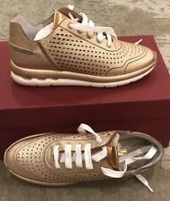 $600 New Salvatore Ferragamo Ladies Shoes Rose Gold Womens Sneakers Size 6 US 36