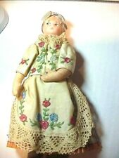Antique Ethnic Doll, hand painted face on molded fabric and sideways looking eye