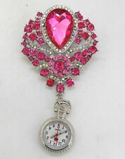 Beautiful Pink Brooch Fob Watch with Diamante Beads