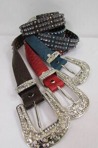 New Women Blue Color Leather Western Fashion Belt Bling Metal Buckle Size M