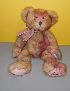 """Rare Promo 12"""" Russ LTD Commodities Amanda Bear Item 0016 Pink Bean Plush Bear"""