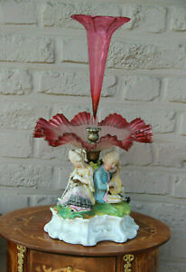 Antique german Rare Centerpiece tazza bisque porcelain group figurine glass