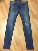 Mens Diesel SLEENKER RIPPED STRETCH Denim 084GL BLUE Slim W32 L34 H6 RRP£150