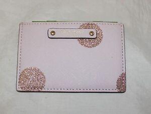 Kate Spade New York Graham Haven Lane Pink Glitter Dot Slim Card Case Wallet