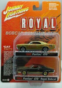 JOHNNY LIGHTNING JLSP161 A ROYAL BOBCAT 1969 PONTIAC GTO 1/64 BLACK & GOLD SET