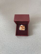 Kenyon Medel 2 tone rhodium with orange swarovski chrystal ring .Ring Size Q